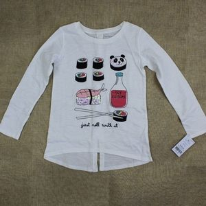 Carter's Girls Crew Neck White Long SleeveT-Shirt